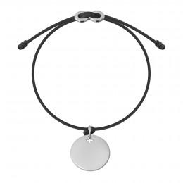 Náramek se stříbrným medailonem a zapínáním  Infinity na tenkém  šedém provázku