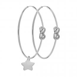 Stříbrné náušnice Eternity o rozměru 4 cm se stříbrnou velkou hvězdou
