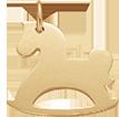 pozlacený houpací kůň 2 cm