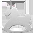 stříbrný houpací kůň 2 cm