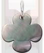 zaoblený čtyřlístek z tmavé perleti 1,5 cm SR
